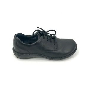 Born Janice LaceUp Leather Oxfords Black Flat 7/38